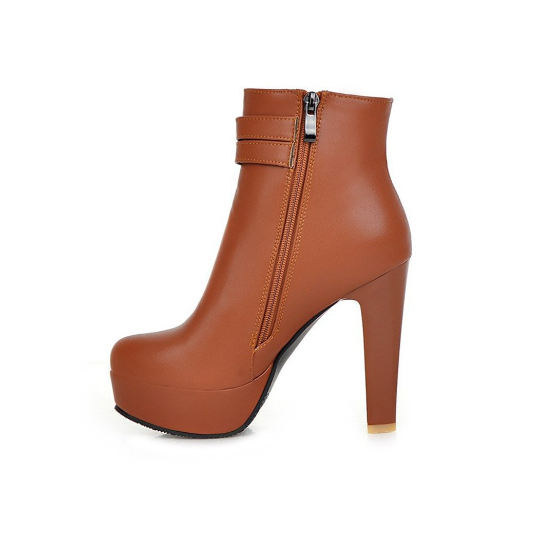 ZQ@QX Herbst und Winter runden Kopf dick mit stilvollen mit Gürtelschnalle groß, Schuhe mit stilvollen hohen Absätzen, Stiefel  yellow a9a899