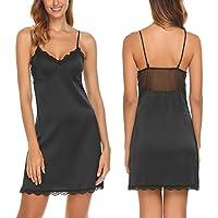 Skylin Satin Nightgown Womens Mini Lace Trim Lingerie Dress Babydoll Sleepwear Slip Chemises S-XXL