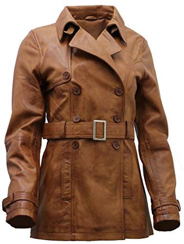 Ladies 3/4 Coat Leather - Women's 3/4 Tan Ladies Lamb Nappa Leather Trench CoatXS