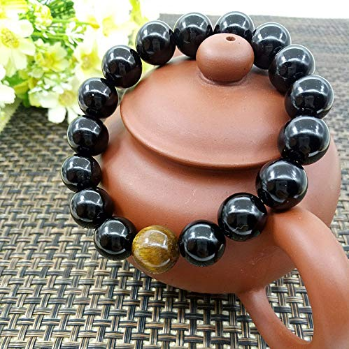 Natural Black Onyx with One Tiger Eye Stone 6-14mm Bead Men's Jewelry12 Constellation Leo Lovers Energy Bracelet