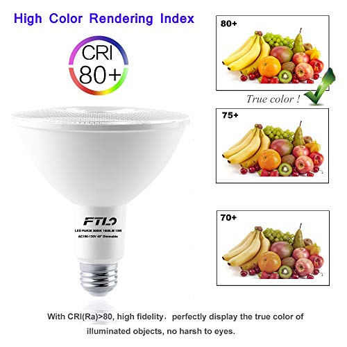PAR38 LED Flood Light 3000K Warm White Dimmable 100W Halogen Bulb Replacement 15W 1600LM E26 Spot Lights for Outdoor Indoor Ceiling Recessed Lighting 4-Pack