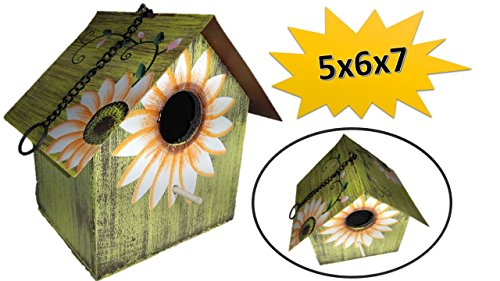 Sunflower Birdhouse - Wooden Birdhouses - SMALL Green - Birdhouses For Outside - Birdhouses Decorative - Colorful Birdhouse - Chickadee Birdhouse - Finch Birdhouse - Wren Birdhouse - Painted Birdhouse - Green Birdhouse
