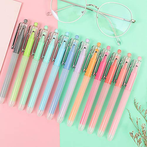 XGao 12pcs Gel Pens Marker Pens Gel Pen with Smooth Gliding Ink Multicolor Markers Fine Point Drawing Pen for Coloring Books Doodling Bullet Journaling Nomal Ink for Kids Children Writing (12 Colors)