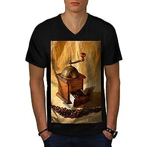 Kaffeemühle Gerät Bohne Cutter Herren NEU Schwarz L T-shirt | Wellcoda