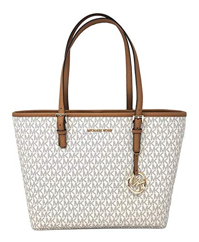 Michael Kors Jet Set Travel Medium Leather/Signature Carryall Tote Bag (Vanilla/Acorn Signature)