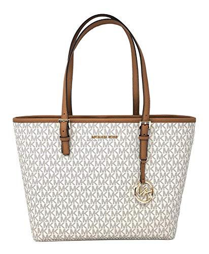 (Michael Kors Jet Set Travel Medium Leather/Signature Carryall Tote Bag (Vanilla/Acorn Signature))