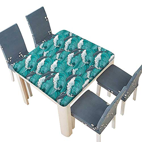 PINAFORE Jacquard Polyester Fabric Tablecloth Wavy Ocean with Dolphins Windy Surfingative Doodle Style Bathroom Suitable for Home use 72.5 x 72.5 INCH (Elastic Edge)]()