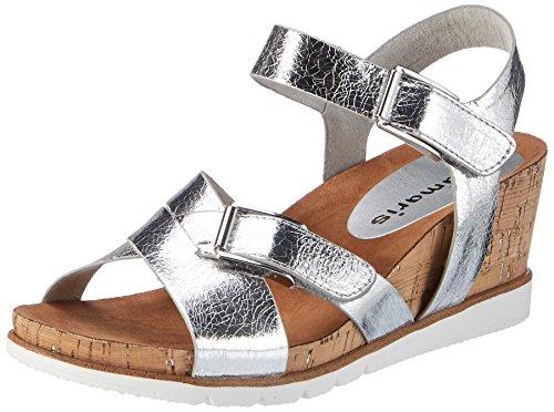 Tamaris 28700, Sandalias con Cuña para Mujer Plateado (Silver Crack 944)
