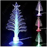 Colorful christmas tree Mini Christmas Tree Usb christmas tree Mini USB Powered 7 Colors Fiber Optic Seasonal Decorative Christmas Tree(Color Changing) (Microfiber)
