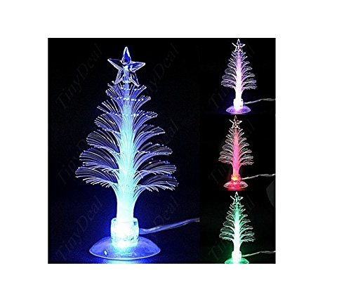 Colorful christmas tree Mini Christmas Tree Usb christmas tree Mini USB Powered 7 Colors Fiber Optic Seasonal Decorative Christmas Tree(Color Changing) (Microfiber) (Tree Christmas Light Micro)