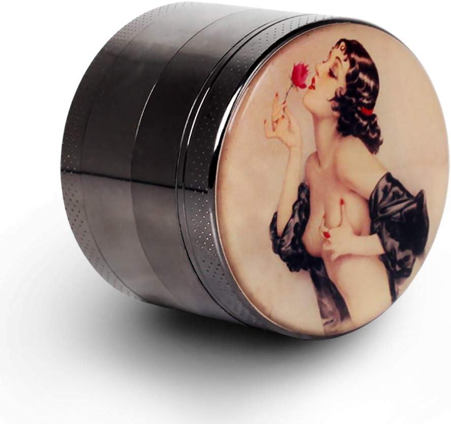 "Pin Up Girl Grinder Titanium Premium Herb Grinder 2.2"" Wide Black"