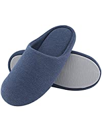Men's Comfort Knitted Cotton Slippers Washable Flat Closed Toe Ultra Lightweight Indoor Shoes with Non-Slip Sole