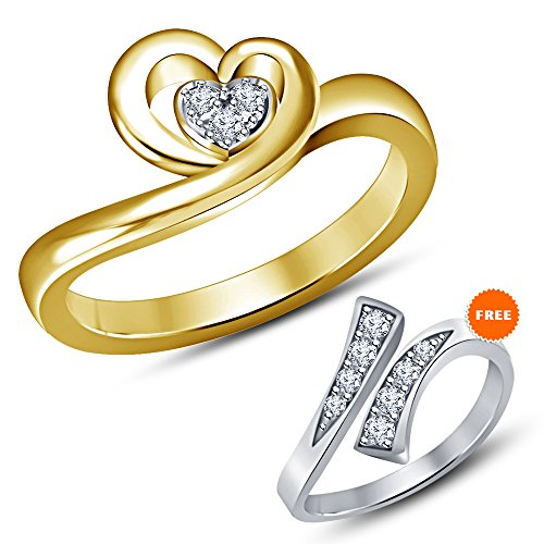TVS-JEWELS engagement promise ring for velentine day gift for women's 14k gold plated sterling silver white round cut cz (9)