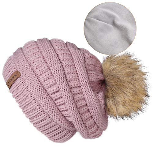 (FURTALK Women's Thick Slouchy Real Fox Raccoon Fur Pom Pom Winter Knit Beanie Bobble Hat Lotus Pink)