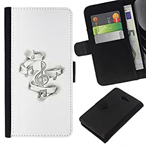KingStore / Leather Etui en cuir / Sony Xperia M2 / Noir Piano White Music'S