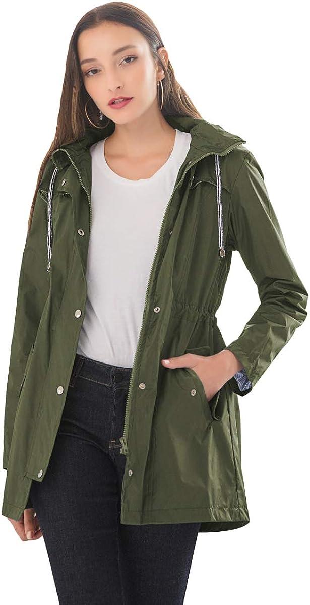 Women Hooded Trench Coat Waterproof Hooded Trench Coats Lined Windbreaker Travel Raincoat Jacket