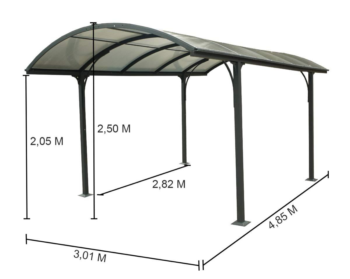 HABRITA Carport Aluminio 14, 62 m2 - Techo 1/2 Redondo: Amazon.es ...
