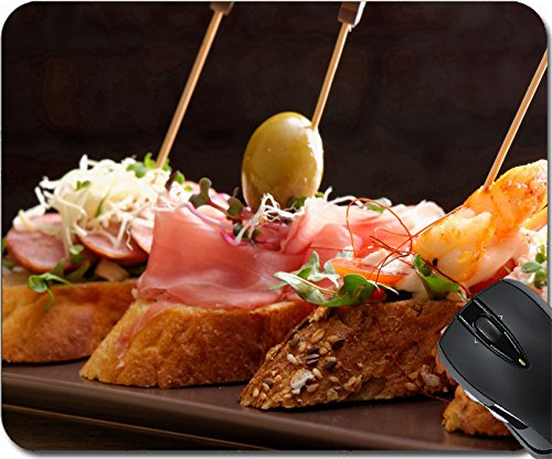 MSD Natural Rubber Mousepad Mouse Pads/Mat design: 32672718 Tapas on Crusty Bread Selection of Spanish tapas served on a sliced baguette ()