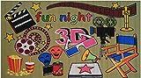 LA RUG FT-153 Fun Rugs Fun Time Movie Area Rug, 3 by 5-Feet, Multi-Color