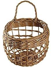 jojofuny Rattan Hanging Basket Woven Storage Basket Wicker Onion Basket Wall Garlic Container Egg Fruit Baskets for Kitchen