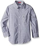 Lacoste Boys' Long Sleeve Poplin Gingham Check Woven Shirt