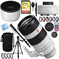 Sony FE 100-400mm f/4.5-5.6 GM OSS E-Mount Lens with Sony SEL20TC FE 2.0X Teleconverter Lens Plus 64GB Accessories Bundle