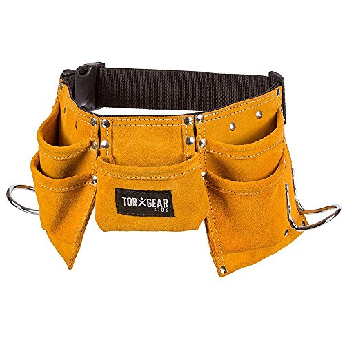 Belt Childrens Tool - Childs Leather Tool Belt - Suede Leather Working Tool Pouch for Youth Dress Up and Costume