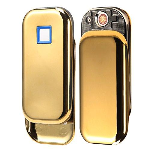 Padgene Fingerprint Scan USB Port Rechargeable Windproof Flameless Electronic No Gas Cigarette Lighter Portble Lighter (Gold)