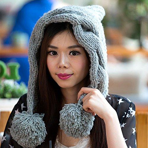Punto Sombrero otoño torcedura Coreana señora GRAY Invierno Estrellas Corea de para Maozi Sombreros Mano Versión Beige qwRx7CnUa