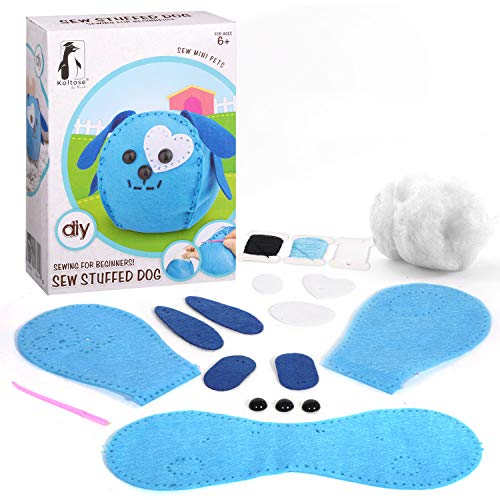 Koltose by Mash Sew Mini Dog Craft Kit for Kids - Sew and Stuff Mini Pet Dog Décor Doll for Children, Sewing Craft for Beginners