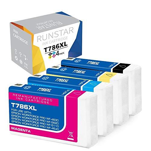 - Run Star T786XL Remanufactured lnk Cartridge Replacement for Epson 786XL for Workforce Pro WF-4630 WF-5620 WF-5110 WF-4640 WF-5690 WF-5190 Printer, 4 Packs (1 Black, 1 Cyan, 1 Yellow, 1 Magenta)