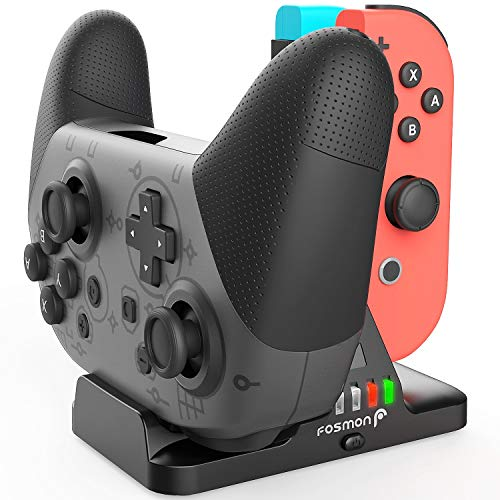 Fosmon Joy Con and Pro Controller Charging Dock, 2-in-1 Dual Charger [LED Indicator | Smart Chip Protection] Docking Station with USB Power Cable for Joycon & Nintendo Switch Pro Controller