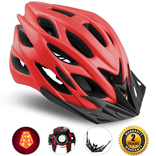 Basecamp Specialized Bike Helmet with Safety Light,Adjustable Sport Cycling Helmet Bicycle Helmets for Road & Mountain Motorcycle for Men & Women,Youth Safety Protection (Red with Big Light) (Custom Road Bikes)