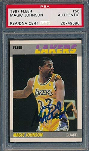 dd11152800d2 1987 88 Fleer  56 Magic Johnson Certified Authentic Auto  9596 - PSA DNA  Certified - Basketball Slabbed Autographed Cards