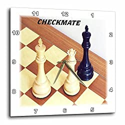 3dRose dpp_41707_1 Chess Pieces with Word Checkmate-Wall Clock, 10 by 10-Inch