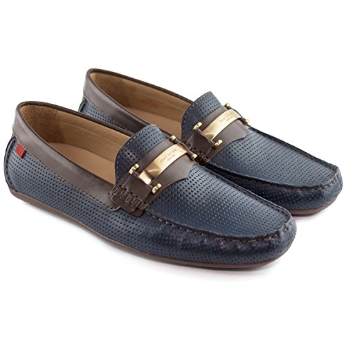 outlet newest choice online Marc Joseph New York Mens Genuine Leather Made In Brazil Bryant Park Perforated MJ Bit Loafer Navy Napa collections buy for sale MJvnn