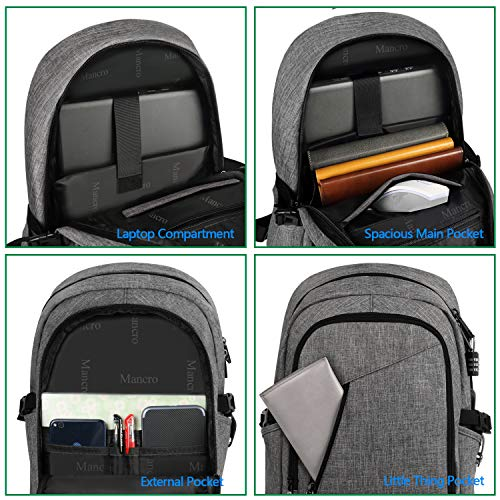 Laptop Backpack, Anti Theft Durable Travel Backpacks Water Resistant School College Bookbag for Women and Men, Slim Business Computer Bag with USB Charging Port Fits UNDER 17 Inch Laptop (Grey)