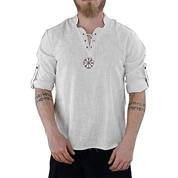 ღLILICATღ Camisa de algodón y Lino de Manga Larga para Hombre ...