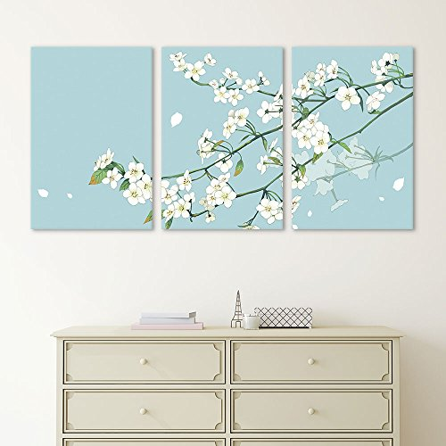 3 Panel Small White Flowers on Light Blue Green Background x 3 Panels