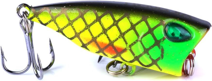 LENPABY 8PCS Popper Floating Lure 4CM//3.5G Popper Fishing Lures Set Treble Hooks Fishing Tackle SetSurface Topwater Hard Fishing