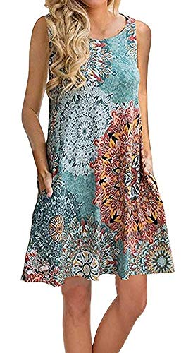 AUSELILY Women's Sleeveless Pockets Casual Swing T-Shirt Dresses (2XL, Print Green) from AUSELILY