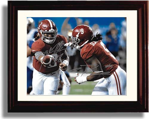 Framed Jalen Hurts and Bo Scarborough Framed Autograph Replica Print