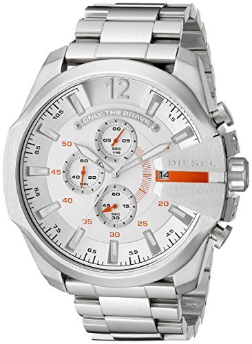 Watch Chronograph Diesel (Diesel Men's DZ4328 Mega Chief Silver-Tone Stainless Steel Watch)