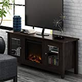 Simple Interior Modern Accent TV Stand with Electric Fireplace Heater - Contemporary Classic Lines Furniture for up to 60'' TVs - Space Heating Capacity : 200 Square Feet (Espresso)