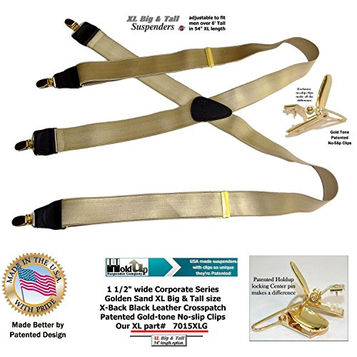 e754c16684b Holdup Brand Corporate Series Golden Sand Satin Finish XL Suspenders with  Patented Gold finished No-