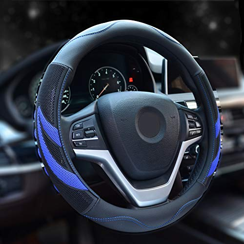 2018 Honda Accord Wheels - Alusbell Microfiber Leather Steering Wheel Cover Breathable Auto Car Steering Wheel Cover for Men Universal 15 Inches (Blue)