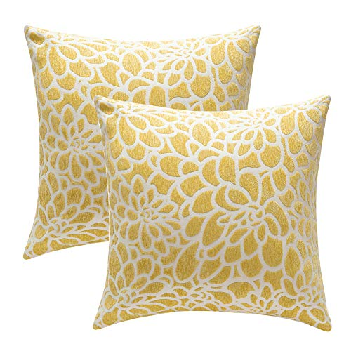 (STARSCITY Decorative Square Throw Pillow Covers Set 100% Cotton Flower Cushion Case Covers Double-Sides Embroidered Home Decor Handmade Pillow Shams (Yellow, 20x20 inches))