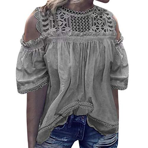 - XVSSAA Summer Women's Off Shoulder Short Sleeve T-Shirt, Female Ladies Cutout Lace Splicing Casual Blouse Top Khaki