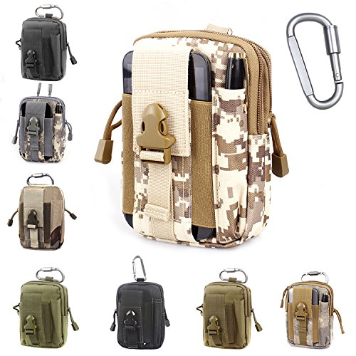 Compact Multipurpose Tactical Molle EDC Utility Gadget Pouch Tools Waist Bag with Holster Holder, 1000D (Desert Digital)