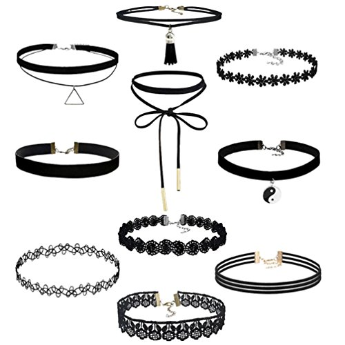 Botrong 10Pieces Choker Necklace Set Stretch Velvet Classic Gothic Tattoo Lace Choker Fashion Jewelry